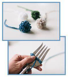 How to make a loopy fork pom pom - tutorial