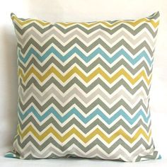 Items similar to Blue Yellow Pillow Cover, Optional Zipper - or inch Chevron Decorative Cushion Cover - Blue Citrine-Yellow Grey Zig Zag on Etsy Yellow Pillow Covers, Grey Throw Pillows, Yellow Pillows, 20x20 Pillow Covers, Lumbar Pillow, Living Room Turquoise, Living Room Grey, Living Room Decor, Dining Room