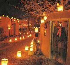 Taos Pueblo with luminarias, Christmas. Beautiful southwest décor ...