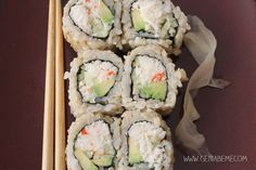 6 pieces of sushi is equivalent to 1 yellow container, 1 green container, and 1 red container. NO SOY SAUCE THOUGH!