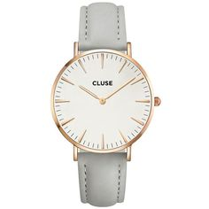 Cluse La Boheme Leather Watch (11970 RSD) ❤ liked on Polyvore featuring jewelry, watches, rose gold white grey, bohemian style jewelry, white leather watches, leather wrist watch, boho style jewelry and bohemian jewelry