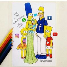 Social Media The Simpsons Supernatural Style App Drawings, Cool Art Drawings, Amazing Drawings, Art Sketches, Fashion Design Drawings, Fashion Sketches, Youtube Drawing, Social Media Art, Cute Disney Drawings