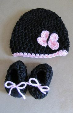 Booties Hat Butterfly Beanie Shoes Black Pink Newborn Handmade Crochet Baby Gift | eBay