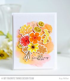 Handmade card from Kay Miller featuring Fall Florals stamp set and Die-namics.