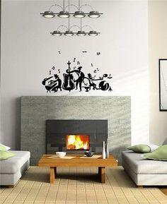 Wall Art Vinyl Sticker Cartoon Music Jazz Band Notes Cute Design A547