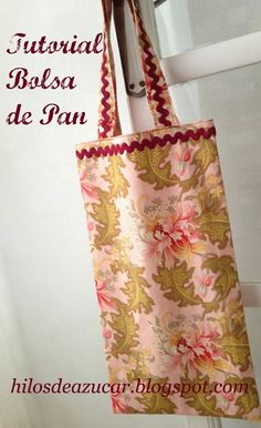 Hilos de azúcar: Tutorial Bolsa de Pan... Sewing Projects, Projects To Try, Patches, Reusable Tote Bags, Diy Crafts, Quilts, Crochet, Fabric, Handmade