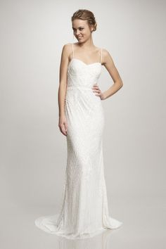 Shop affordable Maxi Spaghetti Beaded Chiffon Wedding Dress With Sweep Train at June Bridals! Over 8000 Chic wedding, bridesmaid, prom dresses & more are on hot sale. Theia Bridal, Bridal Gowns, Wedding Gowns, Wedding Attire, Minimalist Wedding Dresses, Casual Wedding, Elegant Wedding, Summer Wedding, Perfect Wedding