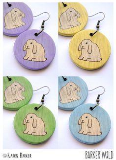 Coloured Mini Lop eared bunny rabbit earrings by Barker Wild at barkerwild.com (also on etsy). Copyright Karen Barker #BarkerWild