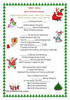 Merry Christmas everyone song - English ESL Worksheets Fun Christmas Party Games, Christmas Quiz, Christmas Activities, Christmas Colors, Christmas Crafts, Christmas Poems, Holiday Games, Christmas Stocking, Christmas Worksheets