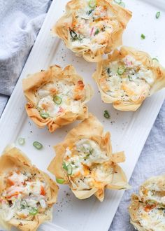 Easy recipe for Seafood Phyllo Cups Appetizers. Phyllo (Fillo) sheets shaped into mini cups and filled with shrimp crab cream cheese dill and green onion. Baked until phyllo sheets are crispy and crunchy. Crab Appetizer, Light Appetizers, Seafood Appetizers, Seafood Dishes, Yummy Appetizers, Appetizers For Party, Seafood Recipes, Phyllo Appetizers, Seafood Bake