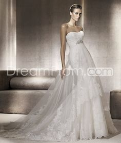 Awesome Sheath/Column Floor-Length  Chapel Strapless Tulle  Wedding Dresses 2014 Spring Trends picture 1