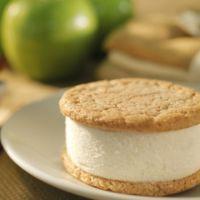 An Apple Pie a la Mode Nye's Cream Sandwich is made with 2 homemade Cinnamon Cookies and homemade Apple Ice Cream. Yum!
