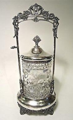 Antique Victorian Glass MANHATTAN Pattern EAPG SilverPlate Pickle Castor Jar 11 (07/13/2014)