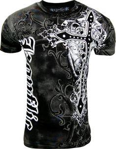 Konflic NWT Men's Giant Cross Graphic Designer MMA Muscle T-shirt M Black