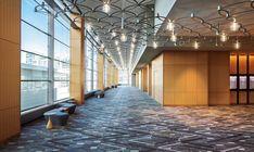 OCL Architectural Lighting - Marriott Marquis Chicago - #Lobby #Lounge #Lighting Custom Lighting, Lighting Design, Suspended Lighting, Lounge Lighting, Lobby Reception, Residential Lighting, Desk Light, Light Architecture, Interior And Exterior