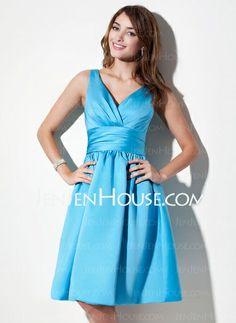 Bridesmaid Dresses - $89.99 - A-Line/Princess V-neck Knee-Length Satin Bridesmaid Dress With Ruffle (007000941) http://jenjenhouse.com/A-Line-Princess-V-Neck-Knee-Length-Satin-Bridesmaid-Dress-With-Ruffle-007000941-g941