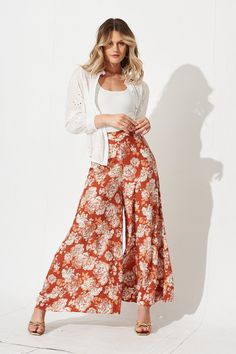 Miki Pants In Rust with Mint Floral Orange - St Frock Gold Jewellery, Wide Leg Pants, Boho Style, Frocks, Watercolour, Rust, Cami, Vintage Inspired, Centre