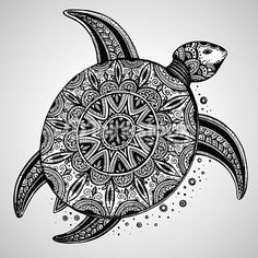 Vector Art : Hand drawn vector monochrome doodle turtle decorated with orient