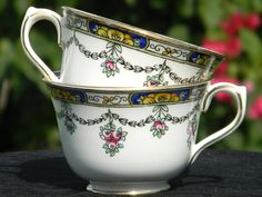 One Celebrate Hand Painted - Floral Teacup - No Saucer - Orphan Tea Cup 1247 by BarnKittyTreasures, $14.00 USD