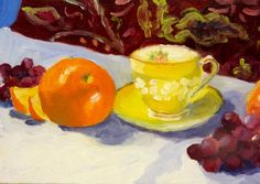 """Original Small Oil Painting Still Life Teacup with Oranges and Grapes. Original oil painting. SFA (Small Format Art), 5x7"""" by RenderedImpressions on Etsy."""