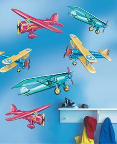 Big on style and size, these giant vintage aircraft murals make a stunning decoration for any childrens room wall! Eight different airplanes included.