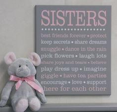 Sister subway art sign - perfect wall decor for a shared bedroom or playroom…
