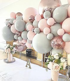Pink and grey balloon garland by Stylish Soirees Perth - custom balloon colours . Pink and grey balloon garland by Stylish Soirees Perth - custom balloon colours . Balloon Backdrop, Balloon Wall, Balloon Garland, Balloon Decorations, Birthday Decorations, Custom Balloons, Pink Balloons, Confetti Balloons, Wedding Balloons