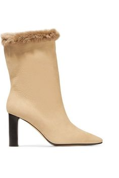 THE ROW EMIL SHEARLING-TRIMMED SUEDE BOOTS. #therow #shoes #