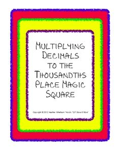 Students put together a puzzle of 24 multiplying decimals problems through the thousandths place -- $1.00