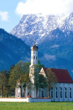 """Coloman Church, Near Fussen, Bavaria, Germany with Neuschwanstein Castle-- """"Cinderella Castle"""" in the distance Nature Photo Wallpaper, Wallpaper World, Hd Wallpaper, Germany Castles, Neuschwanstein Castle, Church Architecture, Cathedral Church, Bavaria Germany, Fussen Germany"""