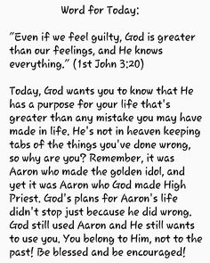 Even if we feel guilty, God is greater than our feelings Scripture Of The Day, Daily Scripture, Daily Devotional, Scripture Cards, Faith Quotes, Sad Quotes, Bible Quotes, Inspirational Quotes, Motivational