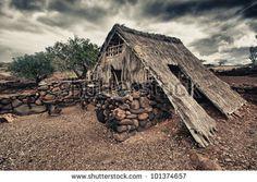 old abandoned primitive house of Hawaiians
