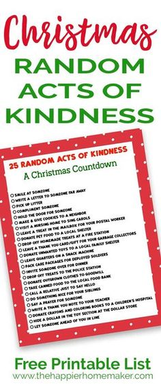 Keep The True Meaning Of Christmas With This Printable List 25 Random Acts Kindness
