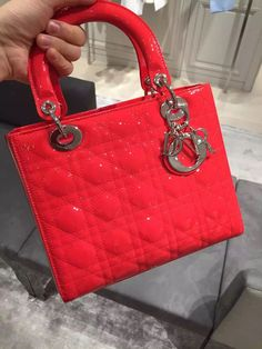 #lady #dior #Authentic Dior Lady Dior Bag Red Patent Leather