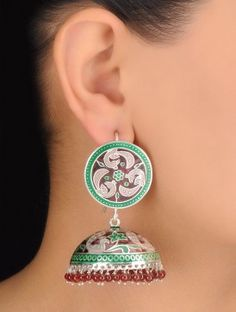 Pair of Peacock Meenakari Silver Jhumki Earrings