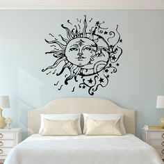 Sun And Moon Wall Decal- Sun Moon And Stars Wall Decals Ethnic Decor- Bedroom Dorm Wall Decal Sticker Bohemian Boho Wall Art Home Decor #sunandmoon #sunmoonstars #boho #bohemian #sunmoon #walldecal #wallstencil #bohobedroom #bohemianbedroom #walldecalbedroom #bedroomdecor
