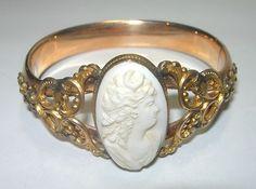 VICTORIAN CARVED GENUINE CAMEO GOLD FILLED LARGE WIDE BRACELET