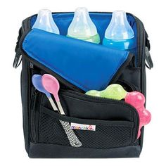 As a pumping/working mom this Cool Wrap™ Bottle Bag by Munchkin has been GREAT for keeping breastmilk chilled all day-also great for travel.  Stores 3 large bottles with icepacks on either side to keep them cool!
