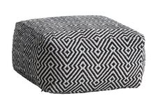 Puff MAJLED mønstret svart/kremfarget,  B50 x H26 x D50 cm | JYSK | 499,-