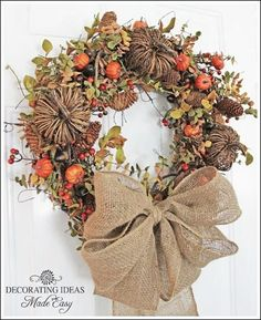 Learn to make a fall wreath. Fall decorating ideas. by ruth