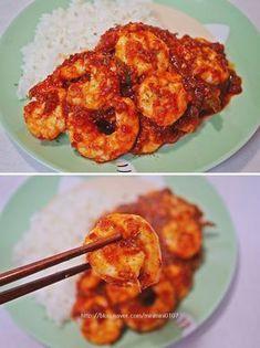 to make Chilli Shrimp with Housebap: Really delicious! -JJB's three …-… – Shellfish Recipes K Food, Good Food, Yummy Food, Korean Dishes, Korean Food, Shellfish Recipes, Asian Recipes, Ethnic Recipes, Aesthetic Food