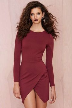 Nasty Gal Laila Dress - Burgundy