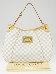 Louis Vuitton Damier Azur Galliera PM bag is a favorite among LV collector's everywhere. Now discontinued, the Damier Azur Galliera PM is highly sought after. This PM is the smallest size of the Galliera family. With its roomy capacity, it is perfect for taking to the office or going shopping. You won't want to leave home without it! Retail price is $1680.