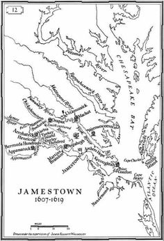 Detail of Sydney King's sketch of New Towne (on Jamestown