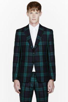 Valentino Green Plaid Blazer for men | SSENSE