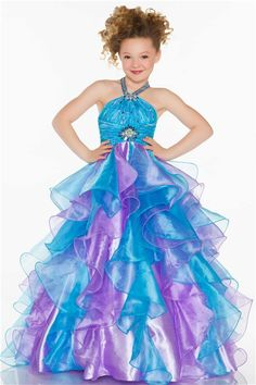purple pageant dresses for girls | ... -long-turquoise-purple-organza-ruffle-little-girl-prom-dress.html