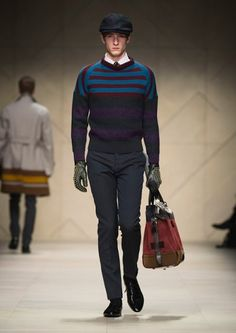 burberry prorsum fw12; really, Burberry? Top-heavy, ugly gloves, and a women's day bag? Really...?