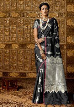 Buy Woven Art Silk Saree in Black online, Item code: SGJA1079, Color: Black, Occasion: Festive, Work: Traditional, Zari, Fabric: Art Silk, Gender: Women