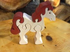 White horse -Montessori - Waldorf wooden puzzle, made by hand of maple wood,no harmful colors and no lacquer Scroll Pattern, Scroll Saw Patterns, Wood Patterns, Wood Crafts, Diy And Crafts, Wood Games, Small Wood Projects, Wood Creations, Wooden Puzzles