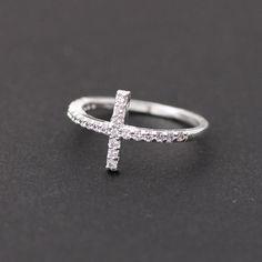sideways cross rings, swarovski decorated